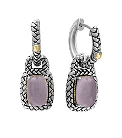 Effy® Serendipity Collection Rose Quartz Earrings In Sterling Silver With 18K Gold Accents