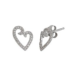 10k White Gold Heart Earrings With 0.10 Ct. T.W. Diamond Accents