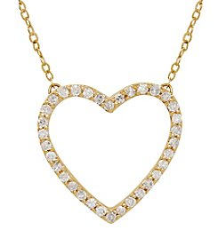 10k Yellow Gold 0.12 Ct. T.W. Diamond Heart Necklace
