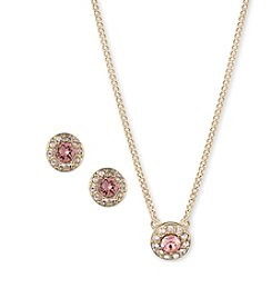 Givenchy® Goldtone Rose Peach Neckalce And Earrings Set