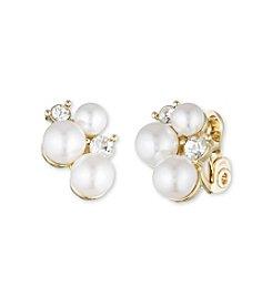 Anne Klein® Goldtone Faux Pearl Clip Earrings