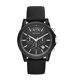 A|X Armani Exchange Mens Silvertone Black Nylon With Silicone Straps Watch