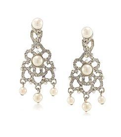 Carolee® Silvertone Washington Square Chandelier Clip On Earrings
