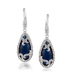 Carolee® Silvertone The Cloisters Blue Simulated Crystal Teardrop Pierced Earrings