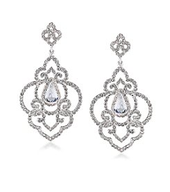Carolee® Silvertone The Cloisters Clear Simulated Crystal Openwork Pierced Earrings