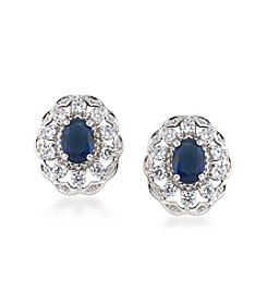 Carolee® Silvertone The Cloisters Blue Crystal Stud Pierced Earrings