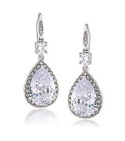 Carolee® Silvertone Prospect Park Clear Double Drop Pierced Earrings