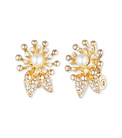 Anne Klein® Goldtone Pearl Clip Burst Earrings