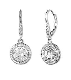 Anne Klein® Silvertone Cubic Zirconia Round Drop Earrings