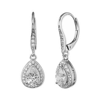 Anne Klein® Silvertone Cubic Zirconia Teardrop Earrings
