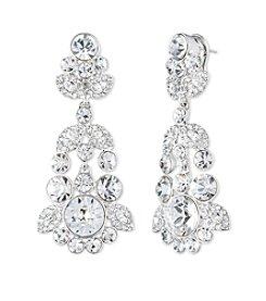 Givenchy® Silvertone Austrian Glass Chandelier Earrings