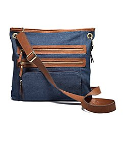 GAL Denim Triple Zipper Pocket Crossbody