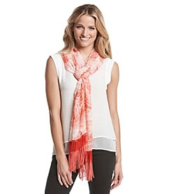 Collection 18 Distressed Paisley Long And Skinny Fringe Scarf