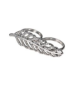 GUESS Silvertone Simulated Crystal Leaf Ring