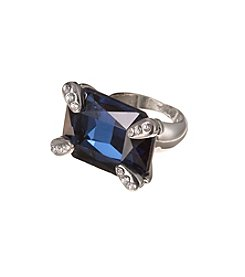 GUESS Silvertone Simulated Crystal Accent Montana Ring