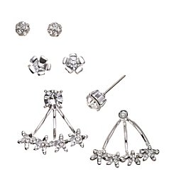 GUESS Silvertone Trio Earrings Set