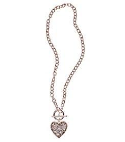 GUESS Rose Goldtone Filigree Heart Necklace