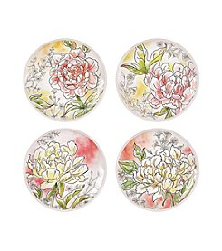 Fitz and Floyd® Savannah Home Set of 4 Assorted Peony Accent Plates