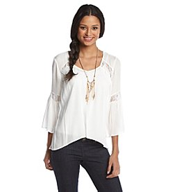Sequin Hearts® Necklace Peasant Top