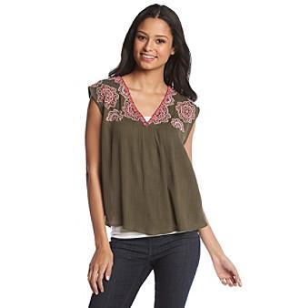Sequin Hearts® Embroidered Gauze Top plus size,  plus size fashion plus size appare