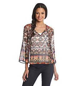 Hippie Laundry Printed Sheer Blouse