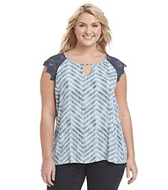 Eyeshadow® Plus Size Crochet And Chevron Top