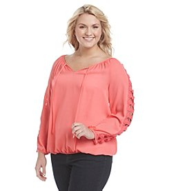 A. Byer Plus Size Lattice Peasant Top