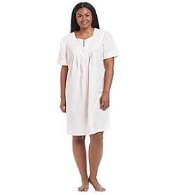 Miss Elaine® Plus Size Woven Zip Up Robe