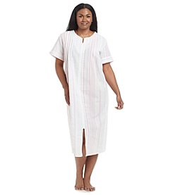 Miss Elaine® Plus Size Printed Woven Zip Up Robe