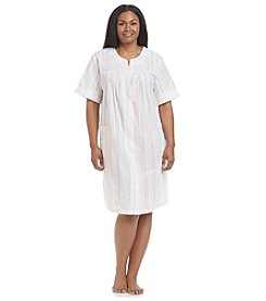 Miss Elaine® Plus Size Woven Button Up Robe
