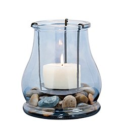San Miguel Decorative Glass Hurricane With Accent Stone Detail