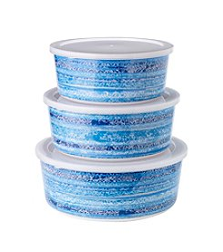 LivingQuarters Lake Collection Printed Nested Bowls
