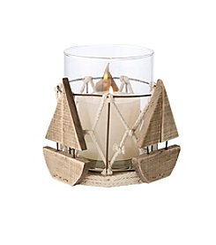 LivingQuarters Lake Collection  Boat Hurricane Candle Holder