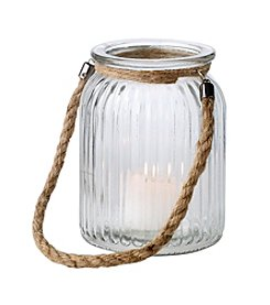 LivingQuarters Lake Collection Glass Candle Holder