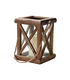 LivingQuarters Lake Collection Wooden Lantern