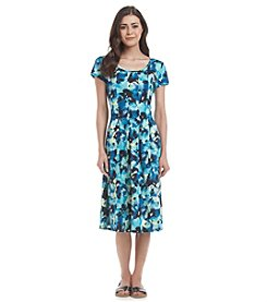 Notations® Petites' Cap Sleeve Print Dress