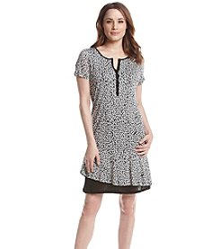 G.H. Bass & Co. Short Sleeve Striped Dots Dress