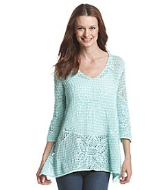 Jeanne Pierre® Long Sleeve Crochet Sweater
