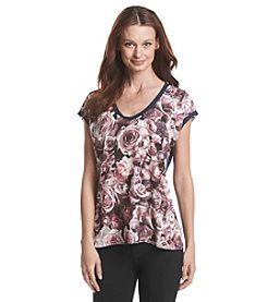 Bobeau® Floral Print Front Tee