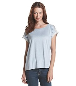 Bobeau Short Sleeve Faux Suede Front Top