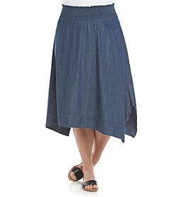 AGB® Plus Size Chambray Hanky Hem Skirt