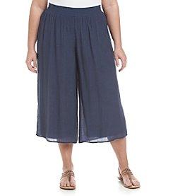 AGB® Plus Size Gauze Gaucho Pants