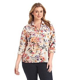Notations® Plus Size Floral Print Blouse