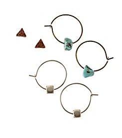 Ruff Hewn Tri Tone Trio Earrings Set