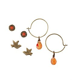 Ruff Hewn Brasstone And Coral Trio Earrings Set