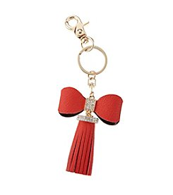 Relativity® Goldtone Faux Leather Bow Key Ring