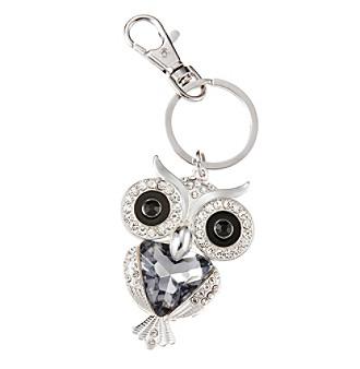 Relativity® Silvertone Black Crystal Owl Key Ring