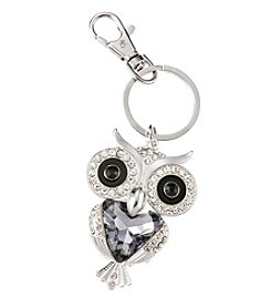 Relativity® Silvertone Black Crystal Owl Key Ring