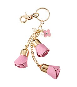 Relativity® Goldtone Faux Leather Flower Key Ring
