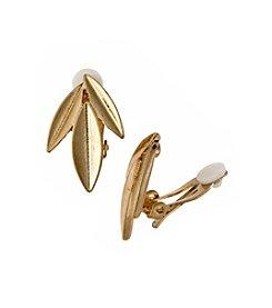 Lauren Ralph Lauren® Goldtone Cluster Leaf Clip Earrings